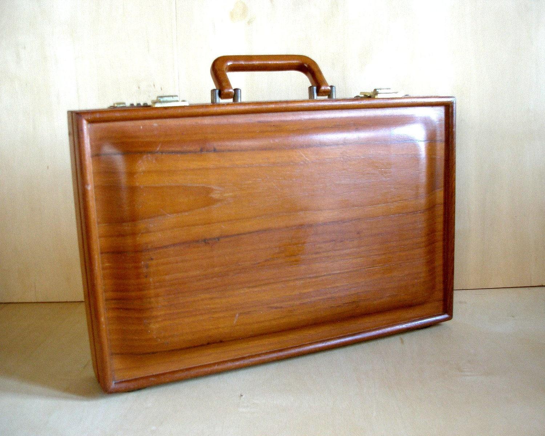 Vintage 1970 S Mid Century Briefcase Solid Teak Wood By