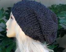 The Los Feliz Big Slouchy, 100 Percent Alpaca, Charcoal Gray, Slouchy, Over Sized, Beanie Hat for Women or Men Fall Winter Back to School
