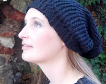 Summer, Spring, Fall, Winter, Black, 100 Percent Cotton, Hand Knitted, Slouchy Beanie Hat for Women or Men Back to School