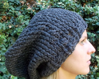 Hand Knit, Chunky, Charcoal Grey, Over-Sized, Slouchy Beanie Hat for Women or Men Fall Winter