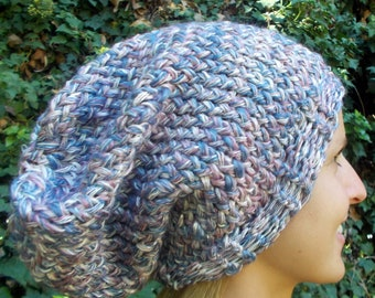 Hand Knit, Pink, Purple, Lavender, White, Over-Sized, Slouchy Beanie Hat for Women Fall Winter
