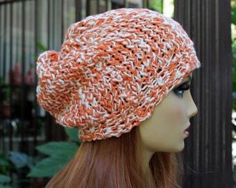 Hand Knit, Orange and Cream, 100 Percent Organic Cotton, Slouchy Beanie Hat for Women and Men Spring Summer Fall Winter