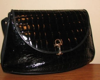 70's Moc Croc Purse // HIGBEE'S Itaian Black LEATHER Vintage PATENT Gold Equestrian Horse Bit