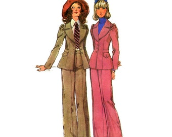 Simplicity 5250, early 1970s Jacket and Cuffed Pants pattern, Bust 32 1/2, Size 10 pattern