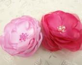 Hot Pink Hair Pins-Bridal Headpiece- Wedding Hair Accessories- Bridesmaid Gift Floral Clip Hair Accessories Brooch