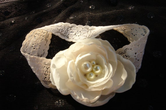 Ivory Headband, Wedding Hair Flower, Ivory Hair Fascinator, Bridal Hair Accessory, Hair Clip