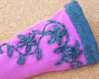Pink and dark grey  fingerless gloves