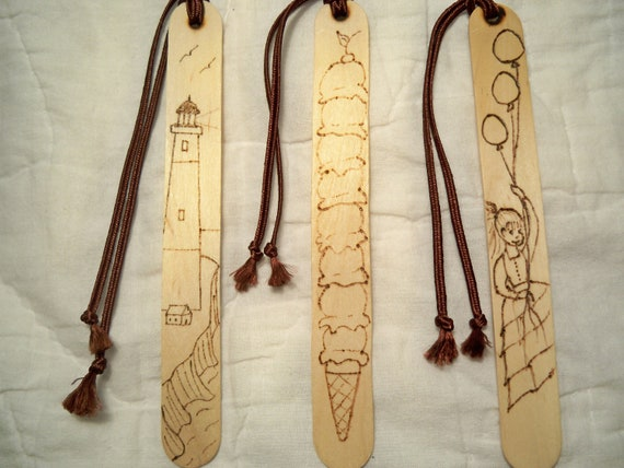 Kids Bookmarks, Wood Burned Bookmark, Lighthouse Bookmark, Girl With Balloons, Ice Cream Cone Bookmark, Seaside Bookmark, Readers Gift