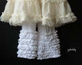 White cotton knit ruffle full length pants bloomers available in black