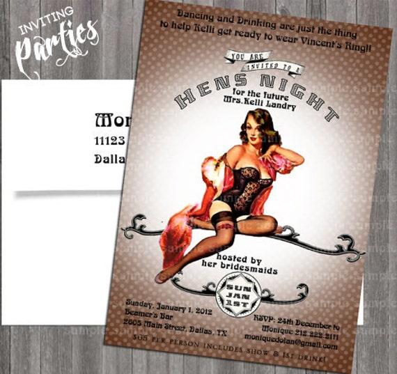 Vintage Pin Up Girl Invitation- Bachelorette party, Hens night, Lingerie Shower Birthday invite diy printed optional