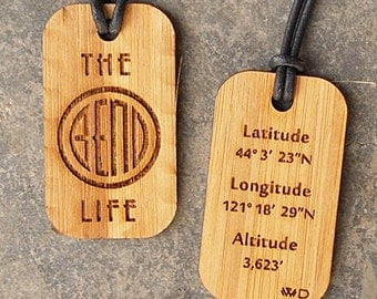 Bend Oregon.  Latitude and Longitude Dog Tag for those who love The Bend Life!