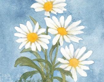 """White Daisy Bunch Original Watercolor by Wanda""""s Watercolors"""