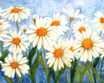 Daisy Garden  Watercolor Painting Reproduction by Wanda's Watercolors