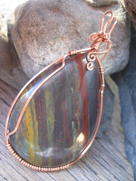 Tiger Iron Pendant, Wire Wrapped Copper
