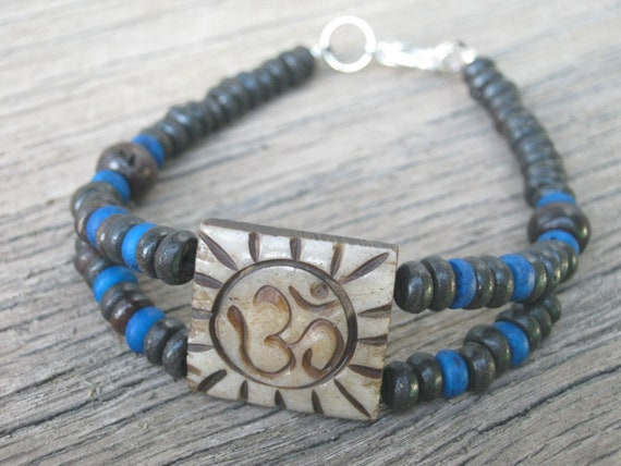 Bone Om Bracelet, Aum Bracelet, Statement Bracelet, Buddhist Bracelet, Tibetan Jewelry, Brown and Blue Bliss, Yoga Inspired, READY To Ship