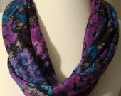 Super Soft, Super Fashionable Turquoise,Blue,  Black, Gray and Purple Floral Print Circular Infinity Fabric Fashion Scarf