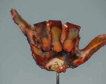 HANG LOOSE GARDEN sTAKE: Copper garden art metal sculpture.
