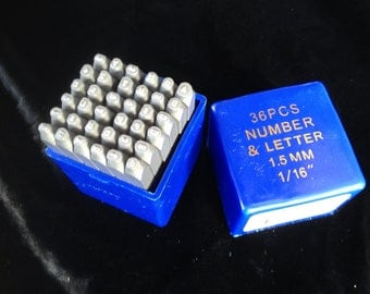 "CLOSEOUT 1/16"" NUMBER & LETTER Punch Set 36 pieces"
