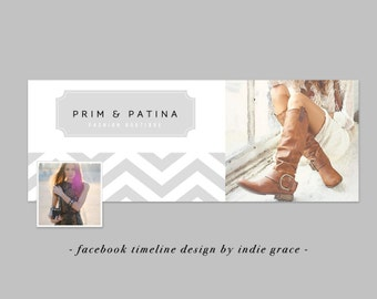 Facebook Timeline Cover - Modern Chevron Photoshop Template - Instant Download