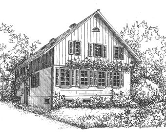 Custom Houseportrait  Your house drawn in ink Personal artwork of your home hand drawn in ink from your photos