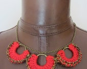 Crochet Handmade Necklace Horseshoe Motif Red and Antique Gold Elegant Unique