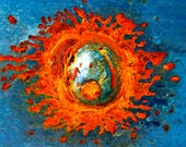 Abstract Fine Art Photography Industrial Rust Orange Blue Silver, Solar Flare 8x12
