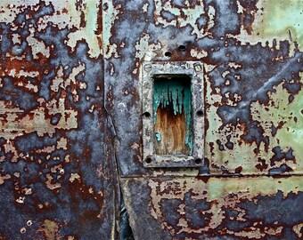 Abstract Fine Art Photography Industrial Rust Orange Purple Blue Green Secret Passage 8x12