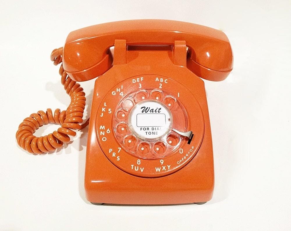 working orange rotary phone working telephone 1966. Black Bedroom Furniture Sets. Home Design Ideas