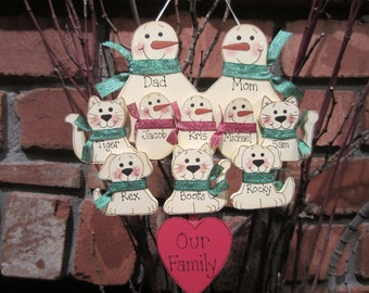 10 Family Members:  Personalized Snowman & Pet Ornament