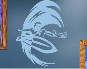 Vinyl Wall Decals: Surfer Riding a Wave, Extreme Sports ES067