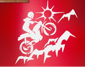 Vinyl Wall Decal: Extreme Sports Dirt Bike Mountain Climbing, Motorcycle, Kids Room Decor ES069