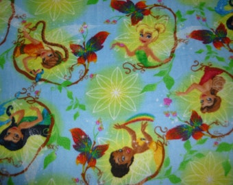 "Child/Teen Tinkerbell and Fairy Friends No Sew Fleece Blanket with Bright Yellow Back (54"" x 58"")"