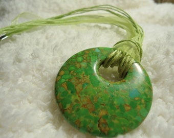 Green Beach Necklace -- Ribbon, Cord, and Stone -- Unique Gift
