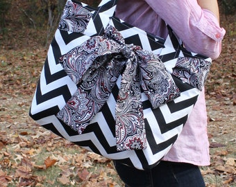 X-LARGE black and white CHEVRON stripe zigzag Handbag/ Diaper Bag/ Purse/ Tote with Red, Black and White Paisley Bow/Sash