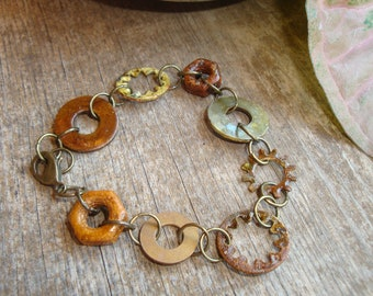 Hardware Jewelry - Industrial Bracelet  with Oxidized Washers and Nuts