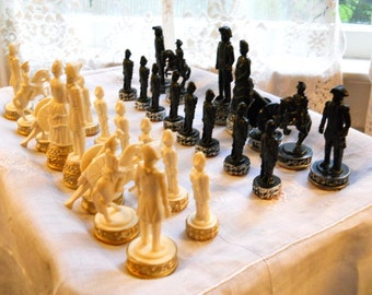 Vintage 1970s Large Ornate Detail Plastic Civil War Figurine Chess Set Game Pieces Country English Re-purpose Salvage Supply