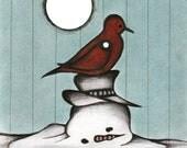 Melted Snowman Drawing, Illustration of Redbird Perched on Snowman, Fun Winter Bird Poster, Fanciful Winter Wonderland Art Print