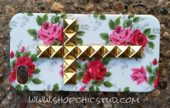 ON SALE - Studded iPhone 4/4S Hard Case Cross Floral Print Gold or Silver or Black Studs