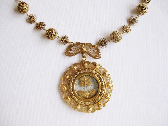 RESERVED for Z- Ornate Big Vintage Gold-dipped Silver Tamborin Necklace from the Philippines