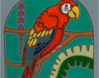 Hand Painted Ceramic Tile Scarlet Macaw (Red Parrot) Original Art