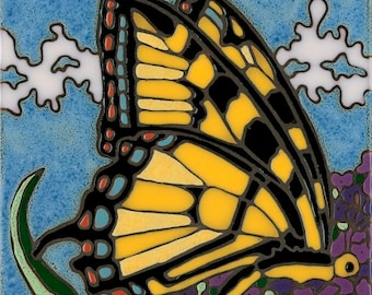 Swallowtail Butterfly tile, hot plate, wall decor, kitchen backsplash, hand crafted, mosaic, installation, bathroom tile,mural, art tile