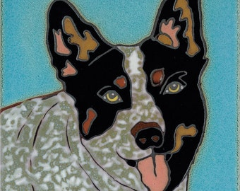 Hand Painted Ceramic Tile Queensland Heeler Dog Original Art