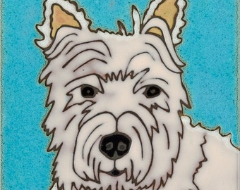Ceramic Tile Dog West Highland Terrier Hand Painted PacificBlueTile.com