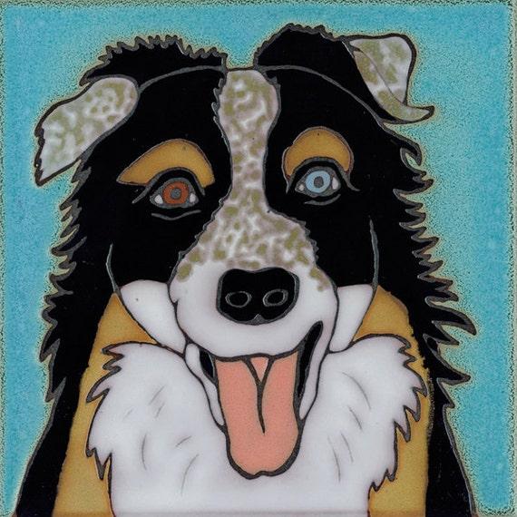 Hand Painted Ceramic Tile Australian Shepherd Dog
