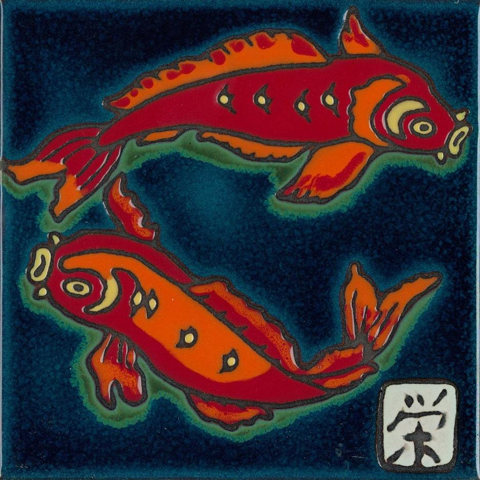 Ceramic hand painted tile koi fish original art by pacific - Hand painted ceramic tile ...