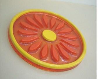 Mid Century Lucite Daisy Trivet Orange Yellow