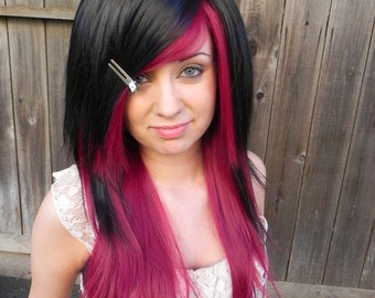 Pick Your Poison / Dark Auburn Red and Black / Long Straight Layered Wig