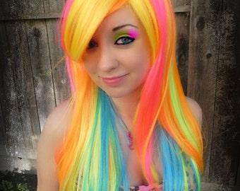Neon Burst / Pink, Orange, Yellow, Lime, Aqua / Long Straight Layered Wig