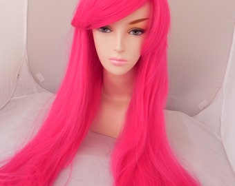 Hot Pink / Long Wavy Straight Layered Wig Extra Thick