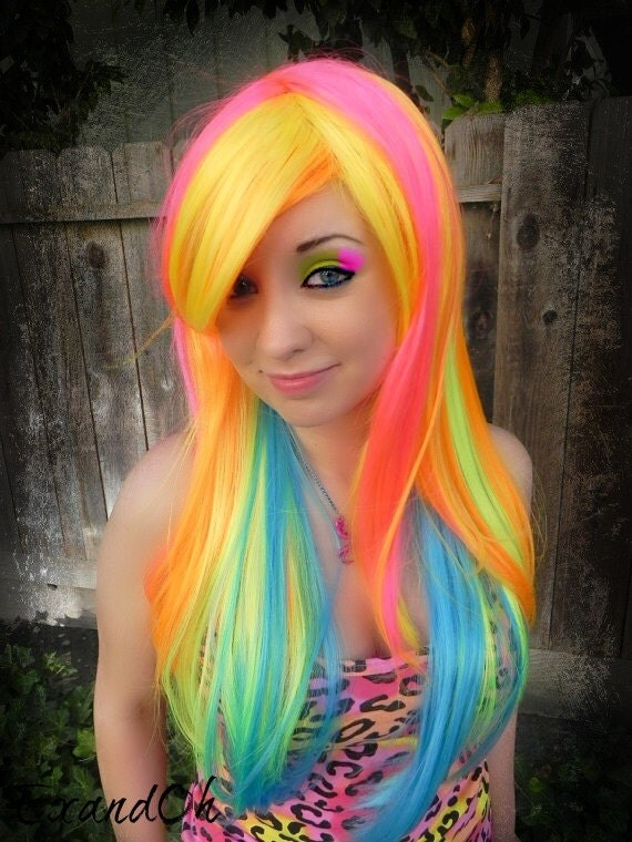 ON SALE // Neon Burst / Pink, Orange, Yellow, Lime, Aqua / Long Straight Layered Wig